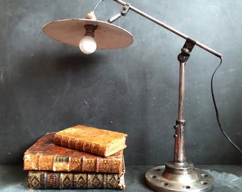 Vintage Industrial Articulating Task Lamp, Factory Garage Lamp, Desk Work Lamp, Industrial Table Lamp.
