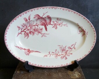 Antique  French pink transferware Serving Platter, oval Dish, Sarreguemines Favori. Shabby chic . Romantic .