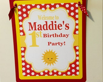 LITTLE SUNSHINE Happy Birthday or Baby Shower Door or Welcome Sign Red Yellow