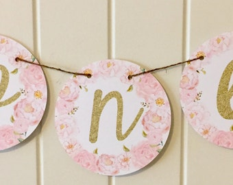 "SHABBY CHIC ROSE Vintage Flower ""I am One"" Highchair Banner - Party Packs Available"