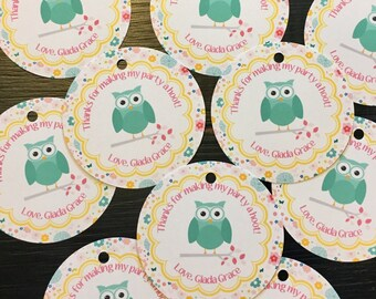 GIRLIE OWL Theme  Happy Birthday Baby Shower Favor Tags or Stickers 12 {One Dozen} - Party Packs Available