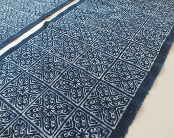 Hmong cotton-Indigo Handprinted Batik fabric new, textiles and fabrics- From Thailand-Table runner,