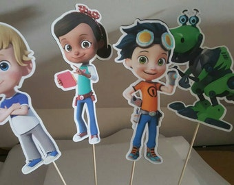 "4 Rusty Rivets 9.5"" figures in stick great for centerpieces, party decoration personalized"