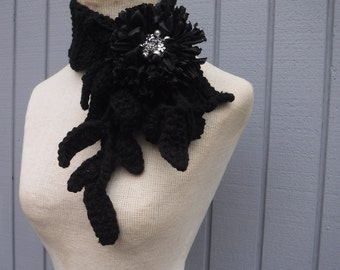 Crochet scarf, black scarf, leaf scarf, soft scarf, flower scarf, winter scarf, women scarf, scarves, handmade scarf, gift scarf, circle