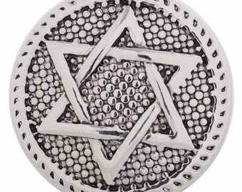 1 PC - 18MM Star David Silver Charm for Candy Snap Jewelry KC5102 Cc2936