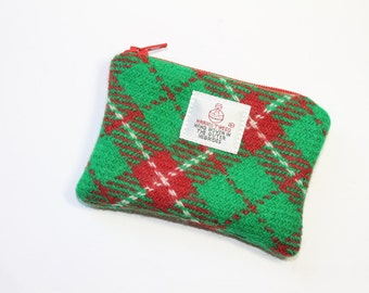 HARRIS TWEED purse, Christmas coin purse, change purse, Harris Tweed, red-green-cream Tartan pattern