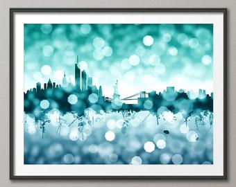 New York City Skyline, NYC Cityscape Art Print (2587)