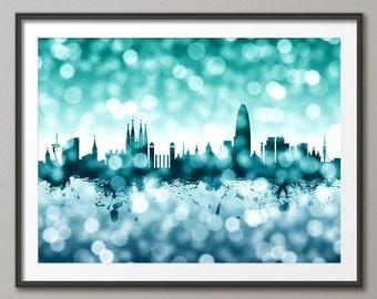 Barcelona Skyline, Barcelona Spain Cityscape Art Print (2613)