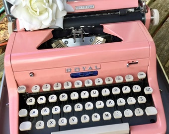 Vintage Pink Typewriter Royal Quiet De Luxe, Excellent and Working,  1956
