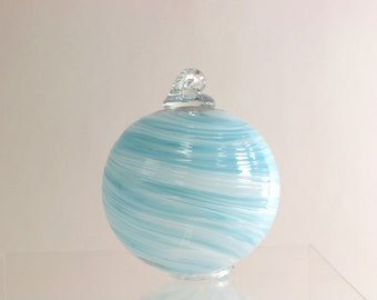 Blue Christmas Ornament, Glass Ornament, Blown Glass Ornament, Swirl, Witches Ball, Multicolor Glass