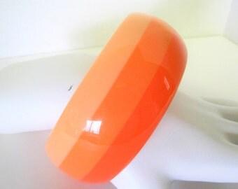 Orange Striped Bangle - Peach and Orange Lucite Bracelet