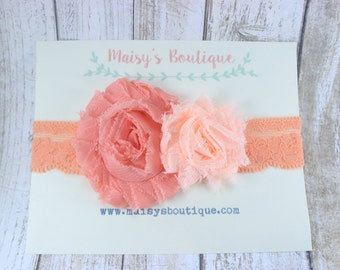 Coral Peach Lace Flower/ Wedding/ Baptism/Baby Headband/ Newborn Headband/ Flower Girl Headband/ Wedding Hair/ Baby Photo Prop