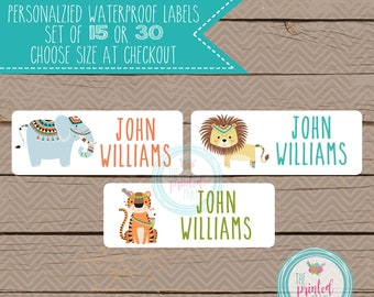 Personalized Waterproof Label Stickers - tribal - jungle - Perfect for Bottles, Sippy Cups, Daycare, School - 106
