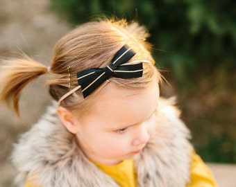 Ribbon Bow - Black and Gold - Available on one size fits all nylon elastic or a clip