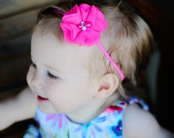 Newborn Baby Petite Headband. Photo Prop. Bright Pink with Rhinestones & Pearls Preemie  Wedding hot pink fuchsia