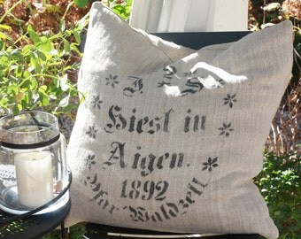 1892 No. 2 J.S. Hiest in Aigen Antique Grain Sack XL Cushion Cover