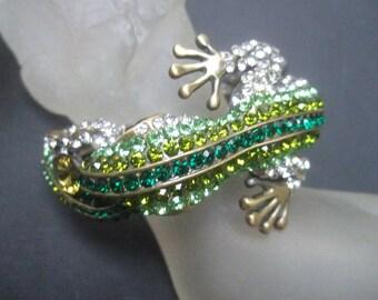 Exotic Glittering Green Crystal Lizard Bracelet