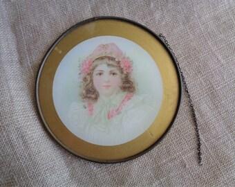 Vintage Print Girl in Pink and White Old Flue Cover Framed Print