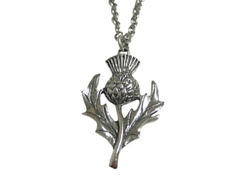 Silver Toned Thistle Plant Pendant Necklace