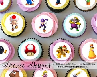 "Mario Mini Edible Icing Cupcake Toppers - 1.5"" - PRE-CUT - Sheet of 30"