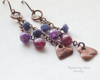 Long Multi Gemstone Dangle Earrings Amethyst, Ruby, and Sapphire Jade Cascade on Chain with Copper Hearts, Berry Colors, Bohemian Jewelry