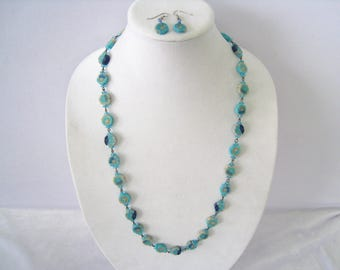 """Aqua Polymer Clay Set has  31"""" Necklace & Drop Earrings. 1  Polymer Slice and 2 Aqua Glass Spacers per Link.  Matching Drop Earrings."""