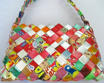 """CLEARANCE Multicolor Gum Candy Wrapper Shoulder Bag in Colorful Foils. Reds, Pinks, Oranges & Silver. Some Greens. A Few Blues. 17"""" Strap."""