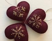 Snowflakes -  Felt Ornaments, Set of 3