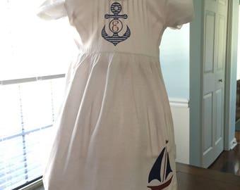 Custom Personalized Anchor/Sailboat Dress - Nautical Dress - Sailboat Dress - Anchor Dress - Summer Dress