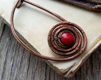 Celtic Brooch Pin, Shawl Pin, Red Spiral Pin, Copper Wire Wrapped Swirls, Scarf Pin, Rustic Celtic Brooch