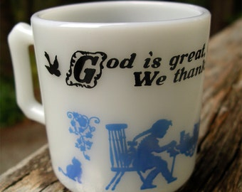 Vintage Child's Milk Glass Grace Mug - Hazel Atlas God is Great Kid's Cup - Childrens Prayer Drinkware