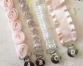 Baby Girl Pacifier Clips/ Newborn Gift/ Baby Girl Shower Gift/ Blush Pink baby girl/ Sophie the giraffe clip/ rose lace ribbon clips
