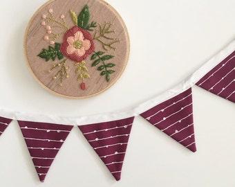 MINI Bordeaux Fabric Banner. Bordeaux Banner. Burgundy Pennant Banner. Mini Wine Fabric Banner. Mini Maroon banner. Mini Fabric banner.