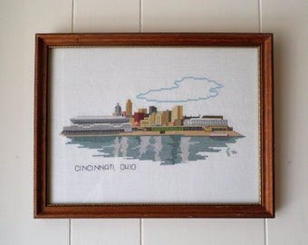 Vintage Cincinnati Skyline Cross Stitched Professionally Framed in Wood Under Glass, Counted Cross Stitch Art, Reflected in Ohio River