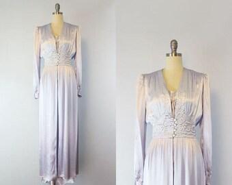 vintage 40s peignoir set / 1940s silk satin robe slip set / lilac purple slipper satin dressing gown and slip / honeymoon lougewear set