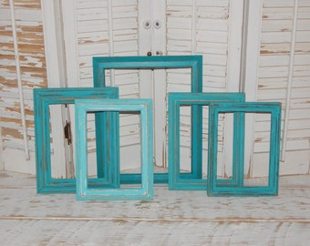 distressed frames open frames gallery frames turquoise teal frames empty painted picture frames set of 5 - Etsy Picture Frames