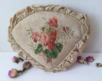 Antique French Hat Pin Cushion Hand Painted Pins Cushion, French Boudoir