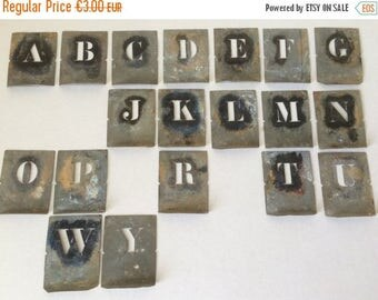 25% OFF Vintage French Small Alphabet Zinc Stencils, Small Zinc Letters. Industrial Decor