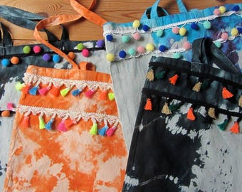 SALE 50% OFF - Tie Dyed Cotton Tote Bags - Pom poms & Tassels