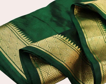 Olive Green and Gold Soft Silk Fabric - Gold Border Fabric - South Indian Silk Fabric - Wedding Costume Fabric - Evening Dress Fabric