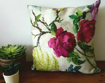 Flower Pillow Cover, Floral Cushion Cover, Pillow Sham, Throw Pillow, Cotton Pillow, Pillowcase, John Lewis Fabric