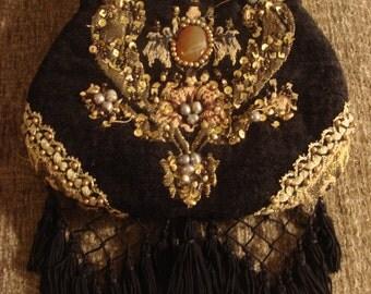 Vintage 1990s Black Boho Gypsy Hippie Jeweled Embellished Handbag with Tassels