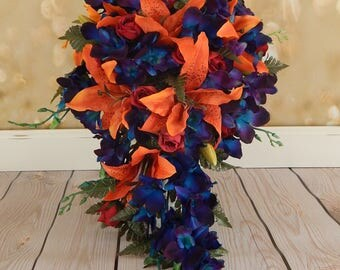 Fall Wedding Bouquet- Cascade Orchid Bouquet, Stargazer Lily Bouquet, Orchid Bridal Bouquet- Customized To Your Wedding Colors- SOLD