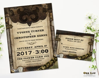 Steampunk Wedding Invitation Set, Steampunk Invites Offbeat Wedding Stationery, Vintage Leather and Gears, Printable Wedding Invite Set