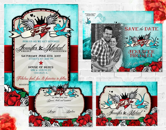 Tattoo Wedding Invitation Set Rockabilly Wedding Invitation – Tattoo Party Invitations
