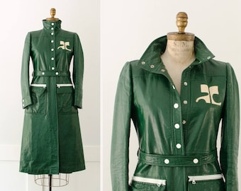 Rare Vintage Andre Courreges Paris Green Vinyl Trench Coat with Oversized Logo - Made in France