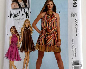 McCalls Misses Hilary Duff Lined Loose Fitting Dress and Sash Sewing Pattern M5848 UC FF Uncut Size 4 6 8 10