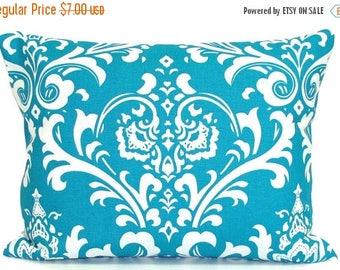 TURQUOISE PILLOW Sale 12x16 inch.Pillow Cover. Decorative Pillows.Housewares. Lumbar Pillow Cover.Cushion.Floral.Damask.cm
