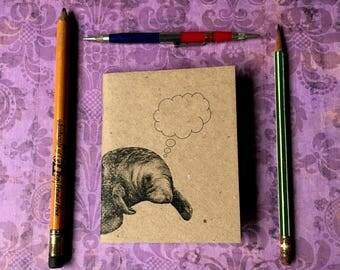 MINDFUL MANATEE ... Mini Journals Set of 2 Notebooks Animal Lovers Sea Cow Handmade Blank Journals Gift Set Small Sketchbook Kraft Book