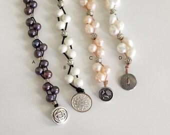 Cultured Freshwater Pearl Leather Bracelet, Beaded Leather Bracelet, Pearl Bracelet, Leather Bracelet, Button Clasp Bracelet